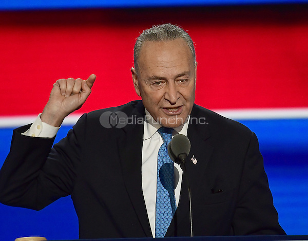 United States Senator Chuck Schumer (Democrat of New York) makes remarks during the second session of the 2016 Democratic National Convention at the Wells Fargo Center in Philadelphia, Pennsylvania on Tuesday, July 26, 2016.<br /> Credit: Ron Sachs / CNP/MediaPunch<br /> (RESTRICTION: NO New York or New Jersey Newspapers or newspapers within a 75 mile radius of New York City)