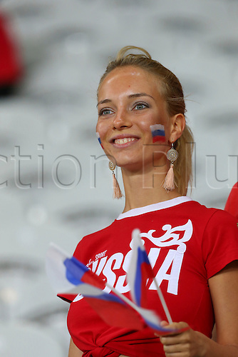 15.06.2016. Lille, France. UEFA Euro 2016 Group B soccer match Russia and Slovakia at Stade Pierre Mauroy in Lille Metropole, France, 15 June 2016.  Russian supporter
