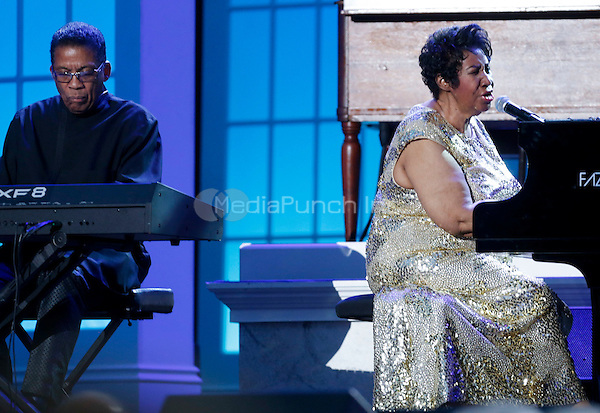 Aretha Franklin and Herbie Hancock perform at the International Jazz Day Concert on the South Lawn of the White House, in Washington, DC, April 29, 2016. United States President Barack Obama delivered remarks to introduce the event. <br /> Credit: Aude Guerrucci / Pool via CNP/MediaPunch
