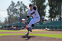 Inland Empire 66ers pitcher Griffin Canning (9) warms up prior to the game against the Modesto Nuts at San Manuel Stadium on April 11, 2018 in San Bernardino, California. (Donn Parris/Four Seam Images)