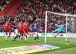 Jack O'Connell of Sheffield Utd heading the ball towards goal during the Sky Bet Championship match at the Riverside Stadium, Middlesbrough. Picture date: August 12th 2017. Picture credit should read: Jamie Tyerman/Sportimage