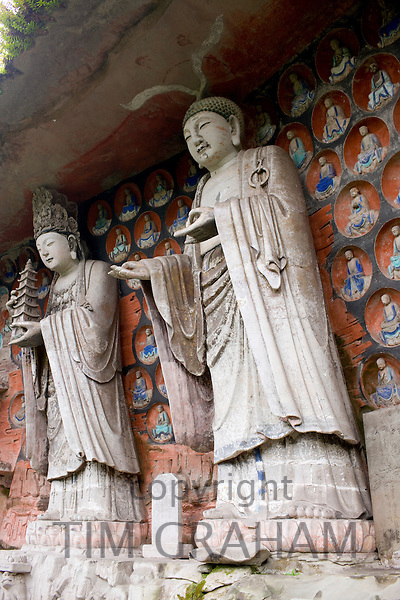 Dazu rock carvings of Buddha of Wisdom and Buddha of Great Sunlight at Mount Baoding, Chongqing, China