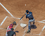 9 July 2017: Atlanta Braves outfielder Nick Markakis in action against the Washington Nationals at Nationals Park in Washington, DC. The Nationals defeated the Braves to split their 4-game series. Mandatory Credit: Ed Wolfstein Photo *** RAW (NEF) Image File Available ***