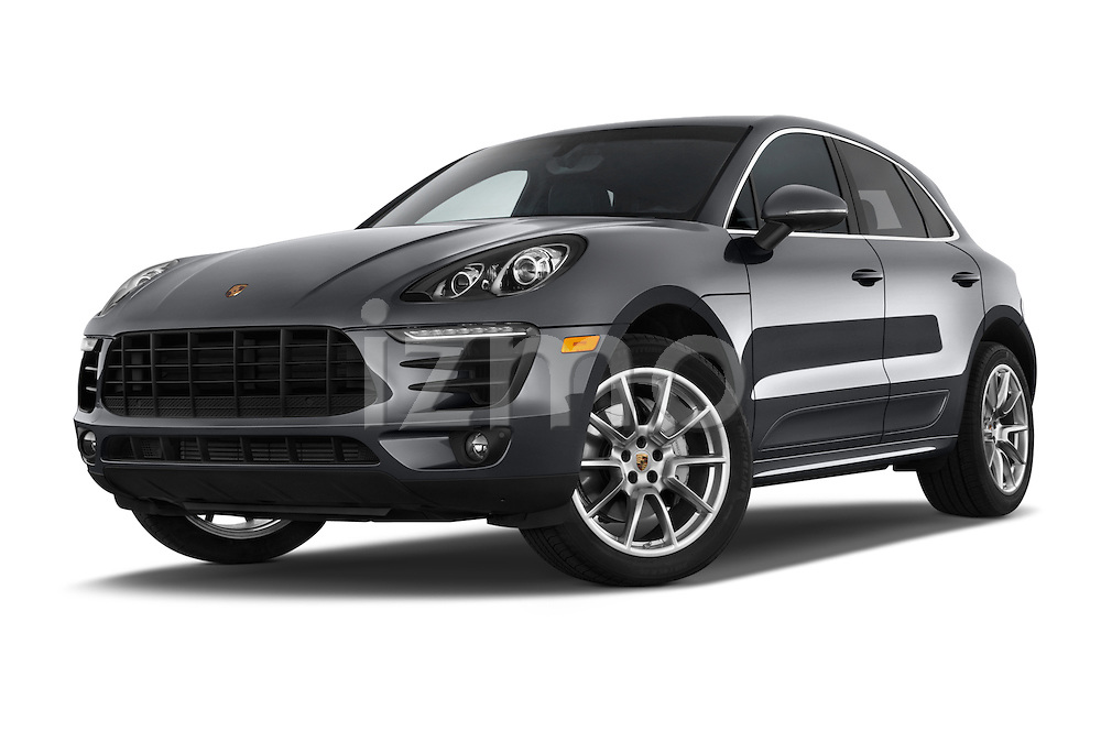 Stock pictures of low aggressive front three quarter view of a 2015 Porsche Macan S 5 Door SUV Low Aggressive