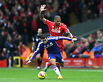 Eden Hazard of Chelsea tussles with Glen Johnson of Liverpool - Barclays Premier League - Liverpool vs Chelsea - Anfield Stadium - Liverpool - England - 8th November 2014  - Picture Simon Bellis/Sportimage