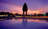 Reflection of  Phnom Penh and traffic light at dusk, the center of town