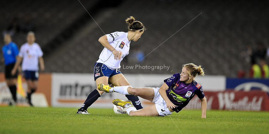 MELBOURNE, AUSTRALIA - OCTOBER 03: Selin KURALAY from Melbourne Victory runs with the ball in round 1 of the Westfield W-league match between Melbourne Victory and Perth Glory at Etihad Stadium on 3 October 2009 in Melbourne, Australia. (Photo by Sydney Low http://syd-low.com)