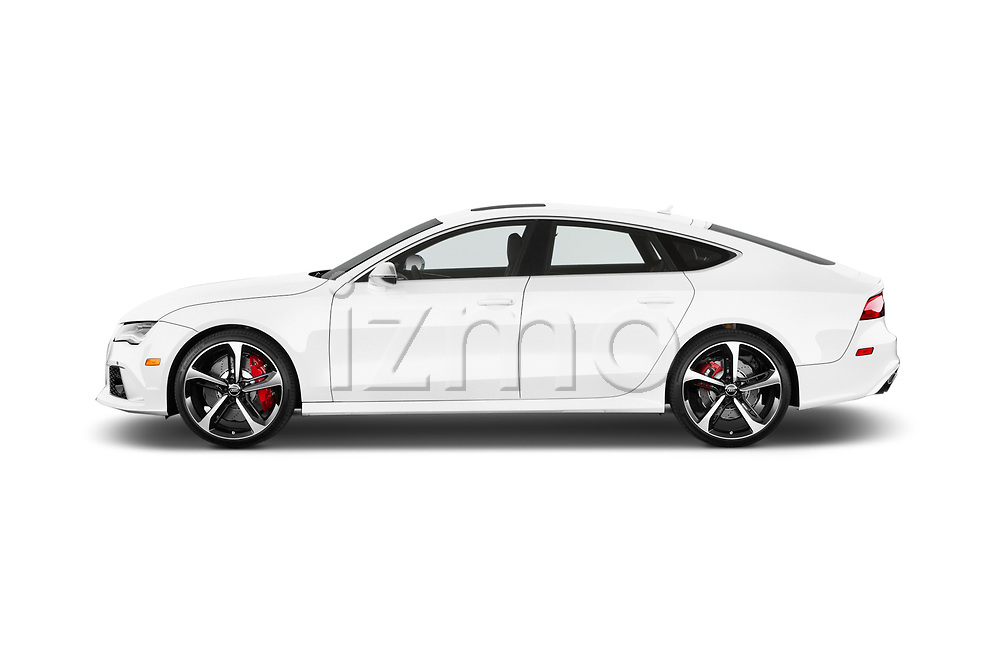 Car driver side profile view of a 2015 Audi RS7  quattro tiptronic Prestige 5 Door Hatchback