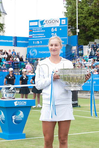 19th June 2010 Aegon International Tennis:  Ekaterina Makarova of Russia playing Victoria Azarenka of BLR in the womens final, Aegon International Tennis Tournament Eastbourne, Played at Devonshire Park, England. Makarova won 7-6, 6-4.