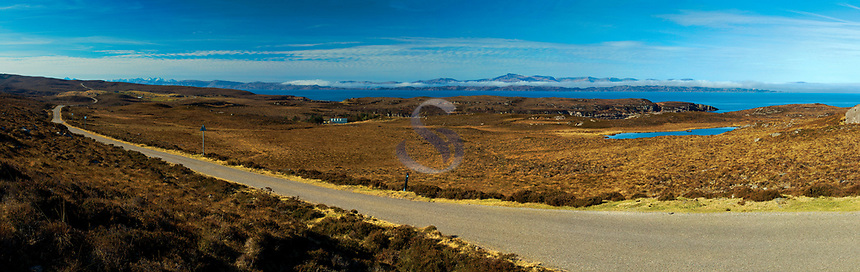 Raasay and Skye from the North Coast 500 near Applecross, Applecross Peninsula, Northwest Highlands