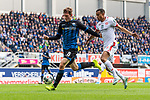 05.10.2019, Benteler Arena, Paderborn, GER, 1.FBL, SC Paderborn 07 vs 1. FSV Mainz 05<br /> <br /> DFL REGULATIONS PROHIBIT ANY USE OF PHOTOGRAPHS AS IMAGE SEQUENCES AND/OR QUASI-VIDEO.<br /> <br /> im Bild / picture shows<br /> Luca Kilian (Paderborn #15) im Duell / im Zweikampf mit Robin Quaison (FSV Mainz 05 #07), <br /> <br /> Foto © nordphoto / Ewert