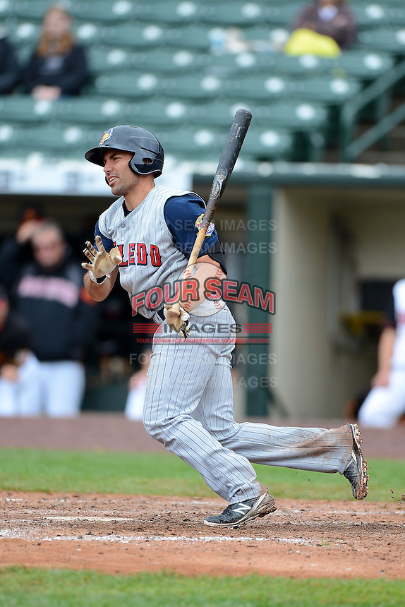 Toledo Mudhens third baseman Mike Cervenak #35 during a game against the Rochester Red Wings on June 11, 2013 at Frontier Field in Rochester, New York.  Toledo defeated Rochester 9-5.  (Mike Janes/Four Seam Images)