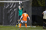 Wake Forest Demon Deacons goalie Andreu Cases Mundet (1) makes a save in front of Justin Malou (19) of the Clemson Tigers during first half action at Spry Soccer Stadium on November 8, 2017 in Winston-Salem, North Carolina.  The Demon Deacons defeated the Tigers 2-1.  (Brian Westerholt/Sports On Film)