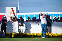 Marc Leishman (AUS) watches his tee shot on 15 during round 1 foursomes of the 2017 President's Cup, Liberty National Golf Club, Jersey City, New Jersey, USA. 9/28/2017.<br /> Picture: Golffile   Ken Murray<br /> ll photo usage must carry mandatory copyright credit (&copy; Golffile   Ken Murray)