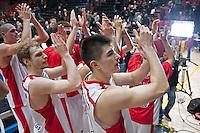 VALENCIA, SPAIN - 05/12/2014. Williams, Jenkins y Zirbes del Estrella Roja celebrando la victoria al final del partido. Pabellon Fuente de San Luis, Valencia, Spain.
