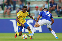 31st October 2019; Bezerrao Stadium, Brasilia, Distrito Federal, Brazil; FIFA U-17 World Cup Brazil 2019, Solomon Islands versus Paraguay; Raphael Leai of Solomon Islands and Fabio Barrios of Paraguay - Editorial Use