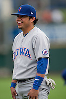 Iowa Cubs second baseman Alfredo Amezaga #3 smiles before the Pacific Coast League baseball game against the Round Rock Express on April 15, 2012 at the Dell Diamond in Round Rock, Texas. The Express beat the Cubs 11-10 in 13 innings. (Andrew Woolley / Four Seam Images).