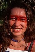 Mato Grosso, Brazil. Liz Hosken with urucum face paint, Chapada dos Guimaraes, 1990.