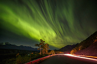 Fall landscape of Aurora Borealis (Northern Lights) over Lake Hood and floatplanes in Anchorage, Alaska. Southcentral, Alaska<br /> <br /> Photo by Jeff Schultz/SchultzPhoto.com  (C) 2018  ALL RIGHTS RESERVED(Northern Lights) over the Glenn Highway and Chugach Mountains in Matanuska Valley... Southcentral, Alaska<br /> <br /> Photo by Jeff Schultz/SchultzPhoto.com  (C) 2018  ALL RIGHTS RESERVED