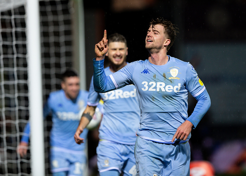 Leeds United's Patrick Bamford celebrates after his side got a late winner courtesy of a Matty Pearson own goal<br /> <br /> Photographer Alex Dodd/CameraSport<br /> <br /> The EFL Sky Bet Championship - 191123 Luton Town v Leeds United - Saturday 23rd November 2019 - Kenilworth Road - Luton<br /> <br /> World Copyright © 2019 CameraSport. All rights reserved. 43 Linden Ave. Countesthorpe. Leicester. England. LE8 5PG - Tel: +44 (0) 116 277 4147 - admin@camerasport.com - www.camerasport.com