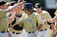 Steven Brooks #1 of the Wake Forest Demon Deacons is congratulated by his teammates following his solo home run in the 4th inning versus the Duke Blue Devils at Jack Coombs Field March 29, 2009 in Durham, North Carolina. (Photo by Brian Westerholt / Four Seam Images)