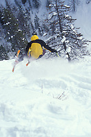 Steve Blake drops into Moe's Canyon. Kimberley Alpine Resort, BC