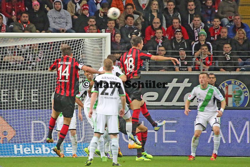 Kopfballchance Johannes Flum und Alex Meier (Eintracht) - Eintracht Frankfurt vs. VfL Wolfsburg, Commerzbank Arena