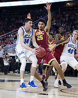 LAS VEGAS, NV - March 9, 2017: UCLA Bruins Men's Basketball team vs. the USC Trojans.  Final Score: UCLA Bruins 76, USC Trojans 74