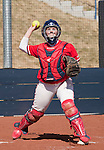 March 23, 2012:   Fresno State Bulldogs catcher Kaitlin Griffin throws to first against the Nevada Wolf Pack during their NCAA softball game played at Christina M. Hixson Softball Park on Friday in Reno, Nevada.