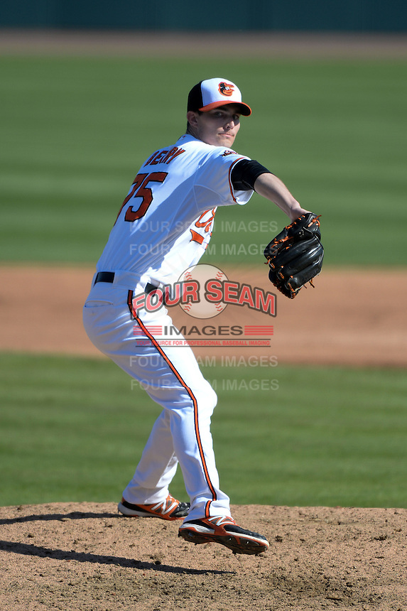Baltimore Orioles pitcher Tim Berry (75) during a spring training game against the Boston Red Sox on March 8, 2014 at Ed Smith Stadium in Sarasota, Florida.  Baltimore defeated Boston 7-3.  (Mike Janes/Four Seam Images)
