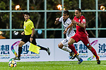 Arkaitz Ruiz De Miguel (L) of Dreams FC fights for the ball with Davd Rafael Lazari Zana (R) of Wofoo Tai Po during the Dreams FC vs Wofoo Tai Po match of the week one Premier League match at the Aberdeen Sports Ground on 26 August 2017 in Hong Kong, China. Photo by Yu Chun Christopher Wong / Power Sport Images