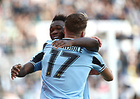 Football, Serie A: S.S. Lazio - Spal, Olympic stadium, Rome, February 2, 2020. <br /> Lazio's captain Ciro Immobile (back turned) celebrates after scoring during the Italian Serie A football match between S.S. Lazio and Spal at Rome's Olympic stadium, Rome , on February 2, 2020. <br /> UPDATE IMAGES PRESS/Isabella Bonotto