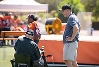 Occidental College President Jonathan Veitch and Larry Layne '71, Football Action Team<br /> The Occidental Tigers football team plays against Willamette University in Jack Kemp Stadium on Saturday, Sept. 15, 2018. It was their first home game of the season and second game of the season. Willamette won, 25-6.<br /> (Photo by Marc Campos, Occidental College Photographer)