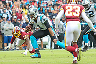 Landover, MD - October 14, 2018: Carolina Panthers quarterback Cam Newton (1) scrambles for a first down during the  game between Carolina Panthers and Washington Redskins at FedEx Field in Landover, MD.   (Photo by Elliott Brown/Media Images International)
