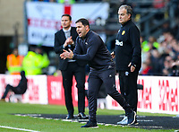 Assistant manager Pablo Quiroga shouts instructions to his team from the technical area<br /> <br /> Photographer Alex Dodd/CameraSport<br /> <br /> The EFL Sky Bet Championship Play-off  First Leg - Derby County v Leeds United - Thursday 9th May 2019 - Pride Park - Derby<br /> <br /> World Copyright © 2019 CameraSport. All rights reserved. 43 Linden Ave. Countesthorpe. Leicester. England. LE8 5PG - Tel: +44 (0) 116 277 4147 - admin@camerasport.com - www.camerasport.com
