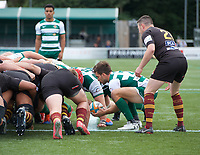 Craig Hampson of Ealing Trailfinders during the RFU Championship Cup match between Ealing Trailfinders and Ampthill RUFC at Castle Bar , West Ealing , England  on 28 September 2019. Photo by Alan  Stanford / PRiME Media Images