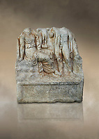 Roman Sebasteion relief  sculpture of an Heroic Couple Aphrodisias Museum, Aphrodisias, Turkey.  Against an art background.<br /> <br /> A heroine sits on a rock with one breast bare. In the front of her stands a young hero. Between them a small statue of Aphrodite stands on a support. The subject is a love encounter, but it is not clear which of many possible heroic couple was intended.