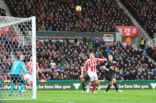 28.02.2015.  Stoke, England. Barclays Premier League. Stoke City versus Hull City. Sub Stoke City forward Peter Crouch scores the opening goal goal.