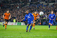 Junior Hoilett of Cardiff City misses his side's second injury time penalty during the Sky Bet Championship match between Cardiff City and Wolverhampton Wanderers at the Cardiff City Stadium, Cardiff, Wales on 6 April 2018. Photo by Mark  Hawkins / PRiME Media Images.