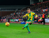 9th February 2019, bet365 Stadium, Stoke-on-Trent, England; EFL Championship football, Stoke City versus West Bromwich Albion; Dwight Gayle of West Bromwich Albion crosses the ball into the box