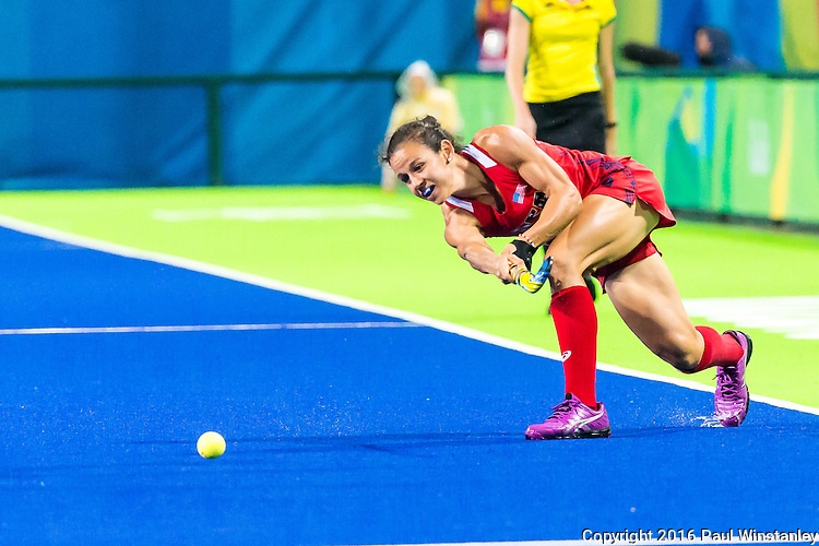 Caitlin van Sickle #28 of United States passes the ball during USA vs Japan in a Pool B game at the Rio 2016 Olympics at the Olympic Hockey Centre in Rio de Janeiro, Brazil.