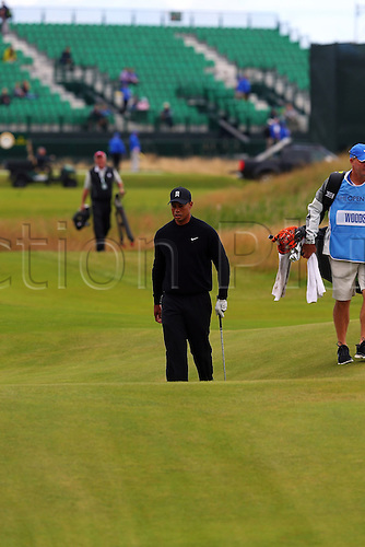 15.07.2014.  Liverpool. Tiger Woods practices for the Open Golf Championship during the first practise day.