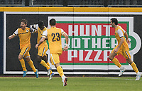 Nashville, TENN. - Saturday February 10, 2018: ROPAPA MENSAH and Nashville SC celebrate a goal during a preseason exhibition match between Nashville SC vs Atlanta United FC at First Tennessee Park.