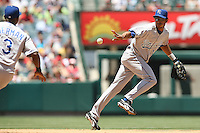 ANAHEIM, CA - JUNE 27:  Infielder Tony Pena #1 of the Kansas City Royals in action against the Los Angeles Angels at Angel Stadium in Anaheim, California. The Royals defeated the Angels 1-0.