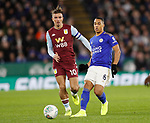 Youri Tielemans of Leicester City gets in front of Jack Grealish of Aston Villa during the Carabao Cup match at the King Power Stadium, Leicester. Picture date: 8th January 2020. Picture credit should read: Darren Staples/Sportimage