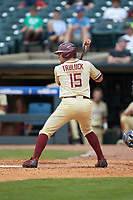 Hank Truluck (15) of the Florida State Seminoles at bat against the North Carolina Tar Heels in the 2017 ACC Baseball Championship Game at Louisville Slugger Field on May 28, 2017 in Louisville, Kentucky. The Seminoles defeated the Tar Heels 7-3. (Brian Westerholt/Four Seam Images)