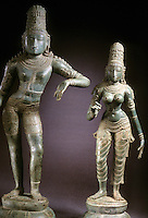 India: Krishna and his wife Satyashama. (His other wife, Rukmin, part of the group, not shown). Tamil Nadu, 12th C. bronze. 34 and 28 inches. Satyashama, the Younger, and Favorite wife.