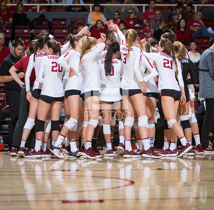STANFORD, CA - October 12, 2018: Team at Maples Pavilion. No. 2 Stanford Cardinal swept No. 21 Washington State Cougars, 25-15, 30-28, 25-12.