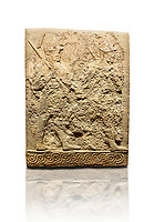 Hittite sculpted orthostats panels of Long Wall Limestone, Karkamıs, (Kargamıs), Carchemish (Karkemish), 900-700 B.C. Soldiers. Anatolian Civilisations Museum, Ankara, Turkey<br /> <br /> Figure of two helmeted warriors. They have their shield in their back and their spear in their hand. The prisoner in their front is depicted as small. The lower part of the orthostat is decorated with braiding motifs. <br /> <br /> On a White Background.