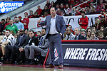 RALEIGH, NC - FEBRUARY 03: Notre Dame head coach Mike Brey. The North Carolina State Wolfpack hosted the University of Notre Dame Fighting Irish on February 3, 2018 at PNC Arena in Raleigh, NC in a Division I men's college basketball game. NC State won the game 76-58.